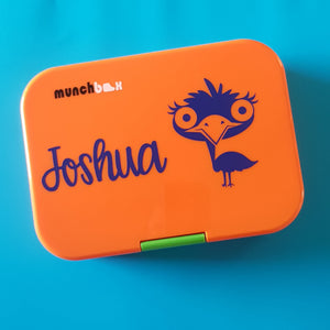 Emu and Name Personalised Lunchbox Laptop Decal Sticker {CG Font}
