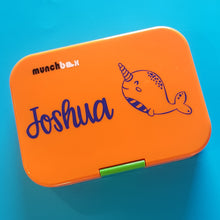 Narwhal & Name Personalised Lunchbox Laptop Decal Sticker {CG Font}