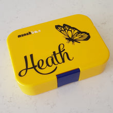 Butterfly Profile & Name Personalised Lunchbox Laptop Decal Sticker {Lizard Font}