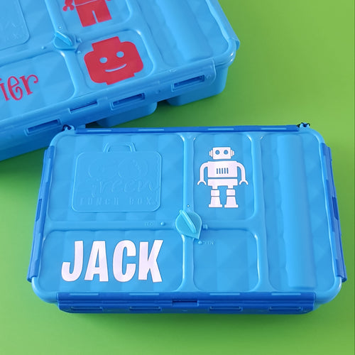 Small Go Green Lunchbox Label Set - Name & Icons - Personalised Label - Mix & Match