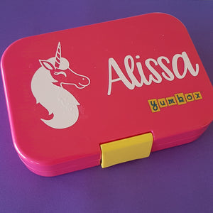 Unicorn Headshot & Name Personalised Lunchbox Bento Label Sticker {CG Font}