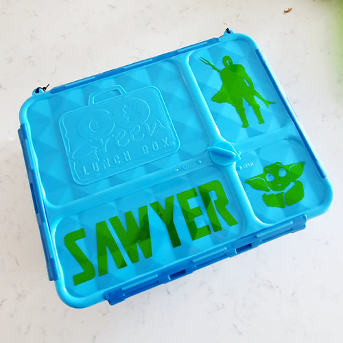 The Mandalorian & Baby Yoda Custom Lunchbox Stickers - Star Wars - Fits Go Green - Personalised Label Med/Large