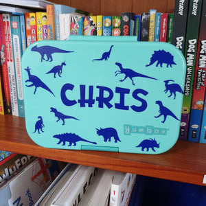Dinosaur Mini Silhouettes Sticker Collection & Name - Personalised Lunchbox Decal Sticker