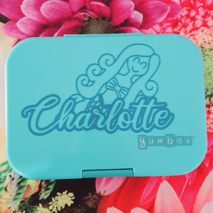 Mermaid Princess & Dance Knockout Name Lunchbox Decal Sticker - Ballet