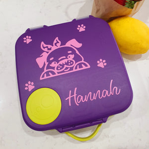 Princess Puppy Lunchbox Name Decal - Spring Dog / Pug {Wilma Font} - Vinyl Label Sticker