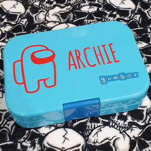 Among Us Character & Name Lunchbox Gamer Decal Sticker (Ama Font)