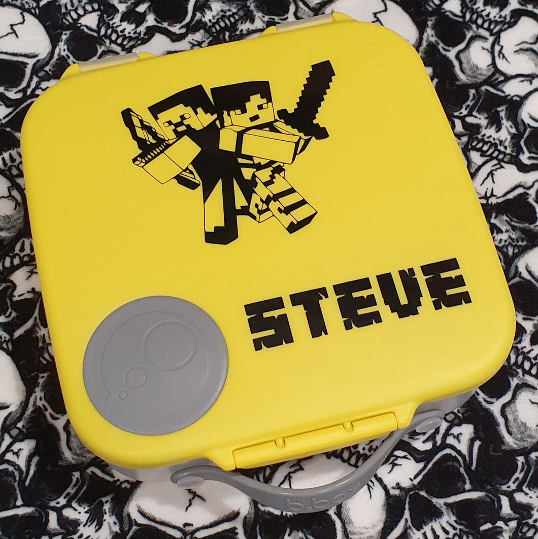Minecraft Steve Battle Design & Name Cutout Lunchbox Decal Gamer Sticker