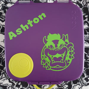 "Large Bowser & Name Nintendo Switch Label (4/4.5"") - Lunchbox Decal Sticker"