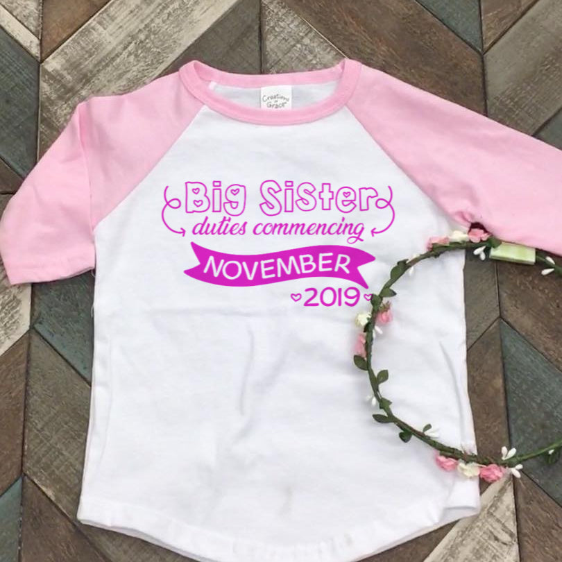 Big Sister Announcement - Personalised DIY Iron On - Heat Transfer Vinyl