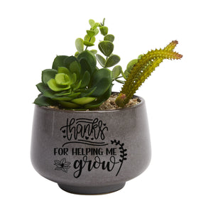 "Teacher Gift Decal - Thanks For Helping Me Grow - DIY Plant Sticker Label - Large 5""/14cm"