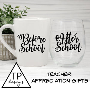 Teacher Appreciation Gift Labels - Before & After School Sticker Pair