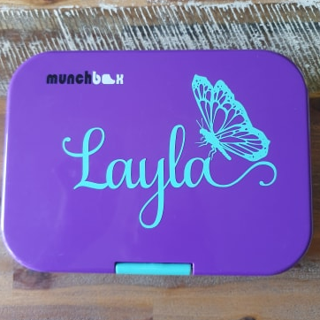 Lacey Samantha Madam Butterfly Lunchbox Name Decal - Vinyl Label Sticker
