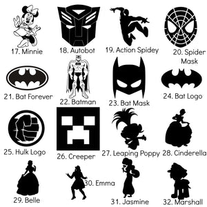 Large Iron-On Character Icons - 12cm - Heat Transfer Vinyl DIY