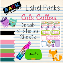 Cutie Critters - Back to School Sticker & Decal Pack