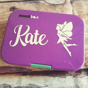 Fairy & Name Personalised Lunchbox /Drink Bottle Bento Sticker Label {Antero Font}