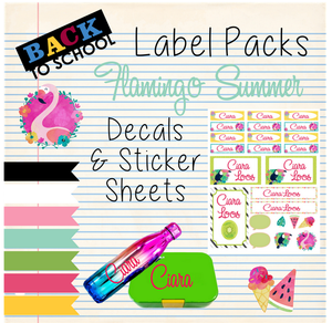 Flamingo Summer - Back to School Sticker & Decal Pack