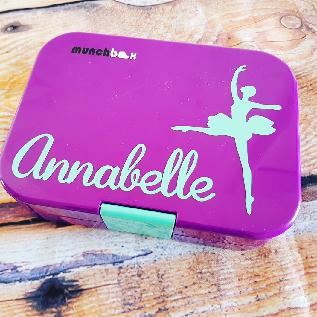 Ballerina & Name Lunchbox Decal Sticker