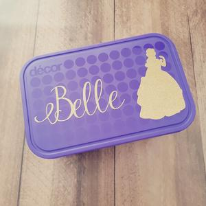 Belle & Name Princess Personalised Name Label Sticker - Lunchbox/Laptop / Dirnk Bottle