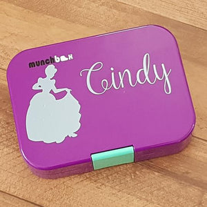 Cinderella & Name Personalised Princess Label Sticker - Lunchbox / Ipad / Drink Bottle Decal
