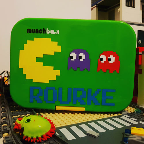 Pacman Retro Arcade & Name - Laptop or Lunchbox Decal Sticker