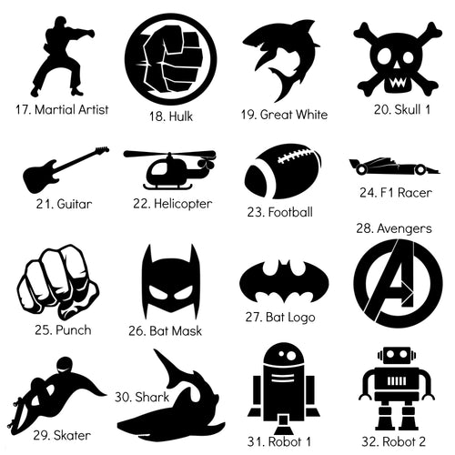 Large Iron-On Silhouette Icons - DIY Heat Transfer Decal - 12cm/5
