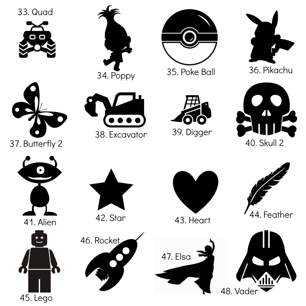 Extra Large Iron-On Silhouette Icons - DIY Heat Transfer Decal - 20cm / 8