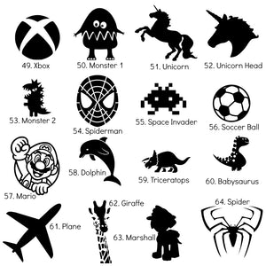 Medium Iron-On Silhouette Icons - DIY Heat Transfer Decal - 10cm / 4