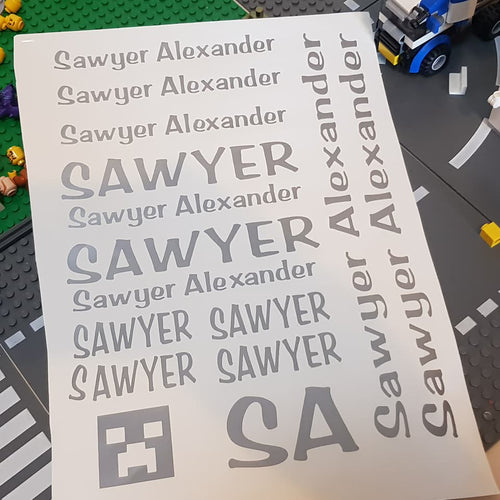 Back to School Vinyl Decal Label Sheets - Personalised Label Stickers (Sawyer Font)