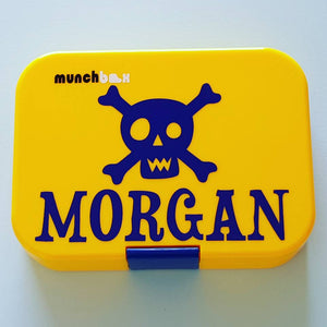 Skull & Name Lunchbox Laptop Decal Sticker