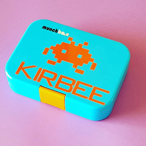 Space Invader Retro Alien & Personalised Name Decal - Lunchbox / Laptop Sticker