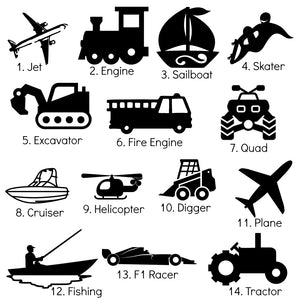 "Medium Transport Adhesive Vinyl Icon Sticker - 5"" Icons - Transport Theme - Cars Trucks Bikes Planes"