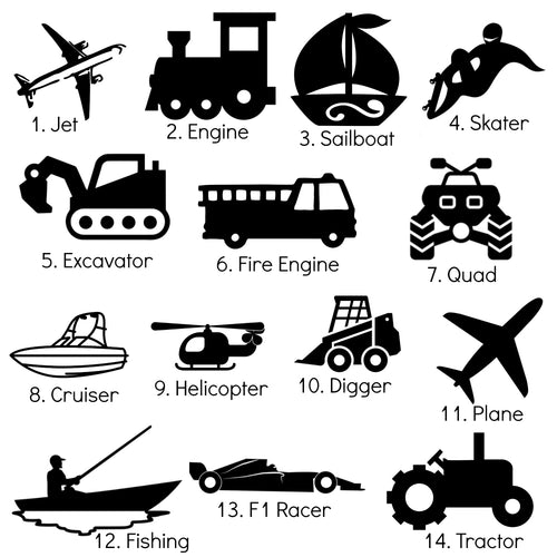 Small Silhouette Icons - 7cm - Transport Theme - Planes Trucks Cars Motorbikes