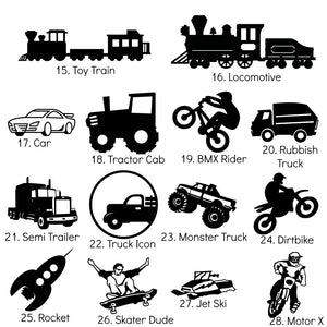 "10cm Silhouette Adhesive Vinyl Icon Sticker - Midi 4"" - Transport Theme - Cars Trucks Planes Motorbikes"