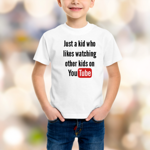 You Tube Kids Shirt - Size 1 - 16 Organic White Cotton