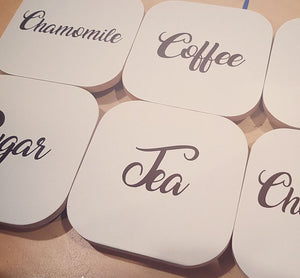 "3"" / 8cm Pantry or Coffee Tea & Sugar Labels ~ Amari Font"