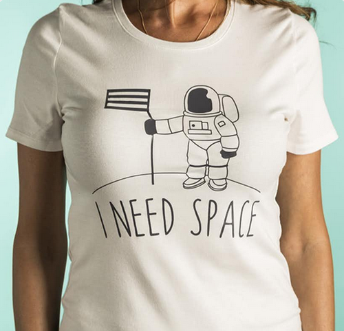 I NEED SPACE Astronaut Science - Punny Geek Chic Teacher  - DIY Iron-On Decal - Heat Transfer Vinyl (HTV)