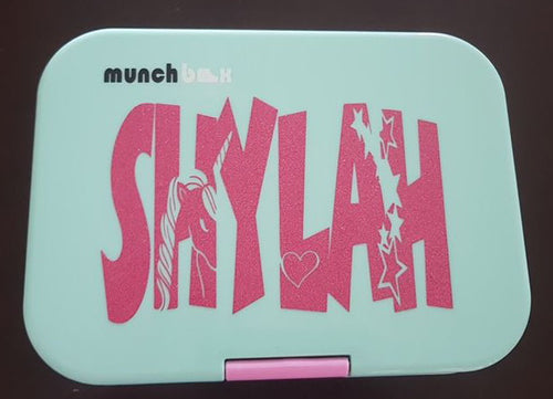Flowing Unicorn Name Knockout Label - Lunchbox Decal Sticker