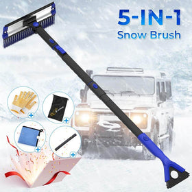 5 in 1 Car Snow Brush with Ice Scraper Squeegee and Durable Gloves, Blue (Deliver from American local warehouse)