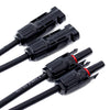 2 Pairs Solar Connectors Y Branch Parallel Adapter Cable Wire - BougeRV