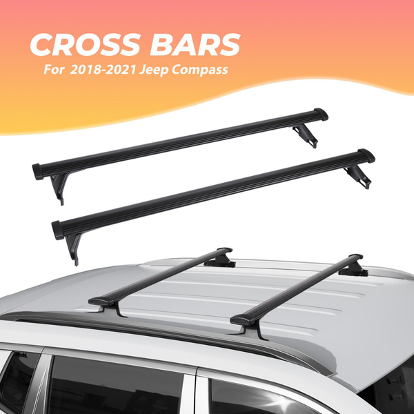 Car Roof Rack Cross Bars for 2018-2021 Jeep Compass with Side Rails, Aluminum Cross Bar Replacement