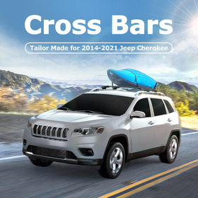 Car Roof Rack Cross Bars for 2014-2021 Jeep Cherokee with Side Rails, Aluminum Cross Bar Replacement