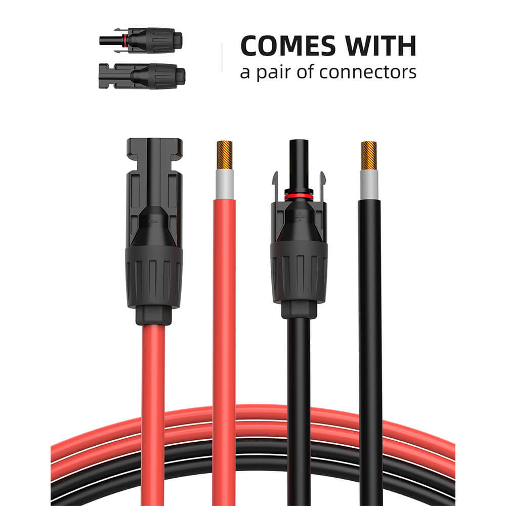 Solar Extension Cable with Extra Free Connectors(10FT Red+10FT Black) - BougeRV