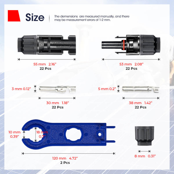 44PCS Solar Connector with Spanners IP67 Waterproof Male/Female - BougeRV