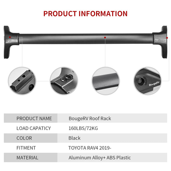2019 2020 Toyota RAV4 Roof Rack Cross Bars Replacement - BougeRV