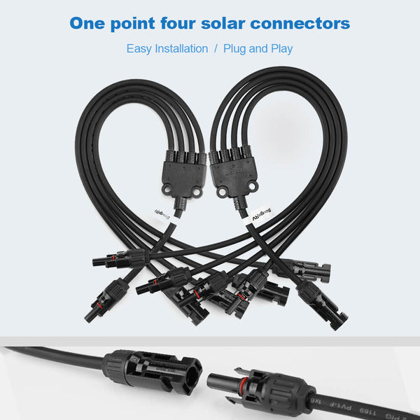 Y Branch Parallel Connectors Extra Long 1 to 4 Solar Cable - BougeRV
