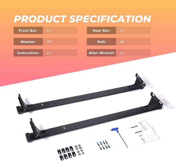 Car Roof Rack Cross Bars for 2018-2020 Jeep Compass with Side Rails, Aluminum Cross Bar Replacement - BougeRV