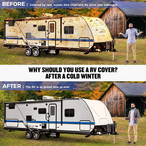 Travel Trailer RV Cover Lightweight Fits 24'-27' Trailers, 27'-29' Trailers