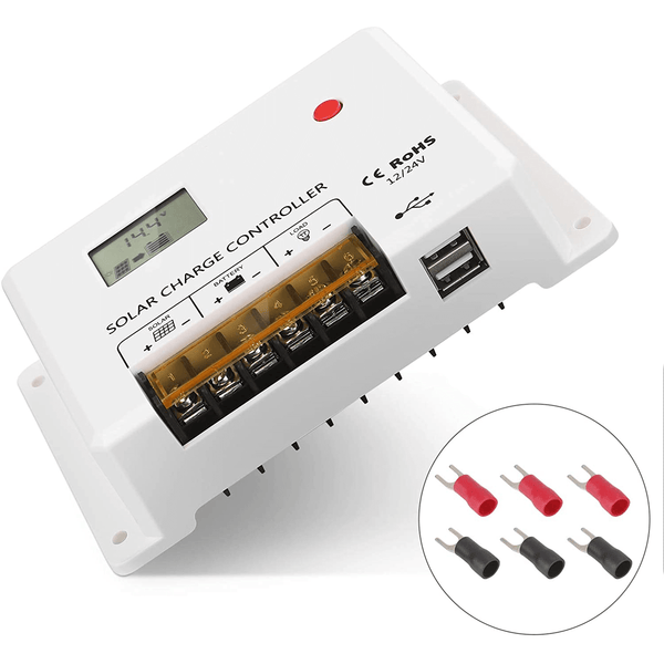 BougeRV 10/20/30Amp 12V/24V PWM Solar Charge Controller, Adjustable Parameter with LCD Display, Dual USB Port
