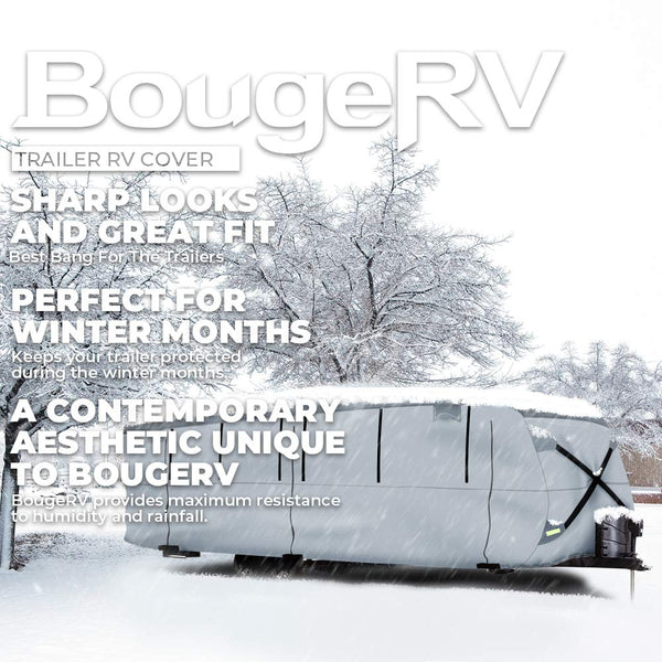 RV Cover Waterproof Lightweight Fits 24'-27' Trailers, 27'-30' Trailers - BougeRV