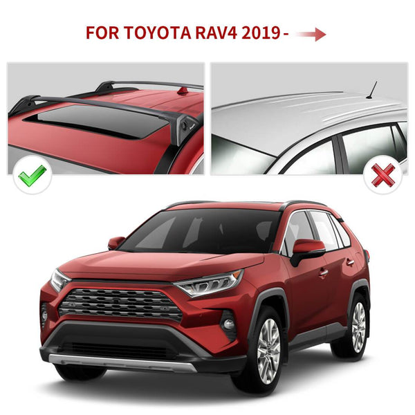 2019 2020 Toyota RAV4 with Side Rails Aluminum Roof Rack Cross Bars Replacement - BougeRV